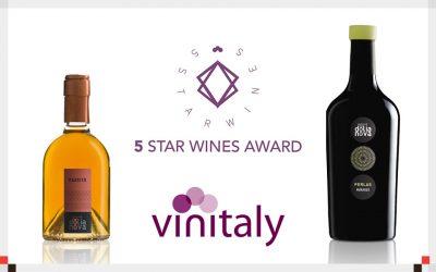 90 punti 5 Star Wines: Vinitaly premia il Passito e il Perlas.