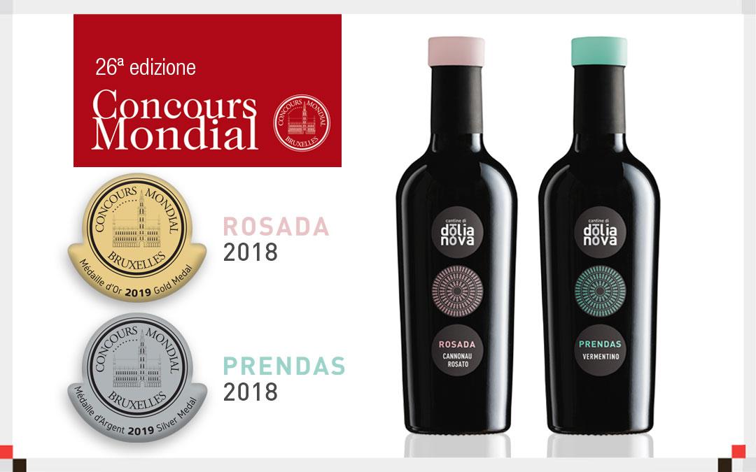 Concours Mondial de Bruxelles: Medaglia d'Oro al Rosada 2018 e Argento al Prendas 2018