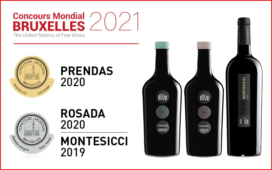 3 vini delle Cantine di Dolianova premiati al Concours Mondial di Bruxelles 2021.