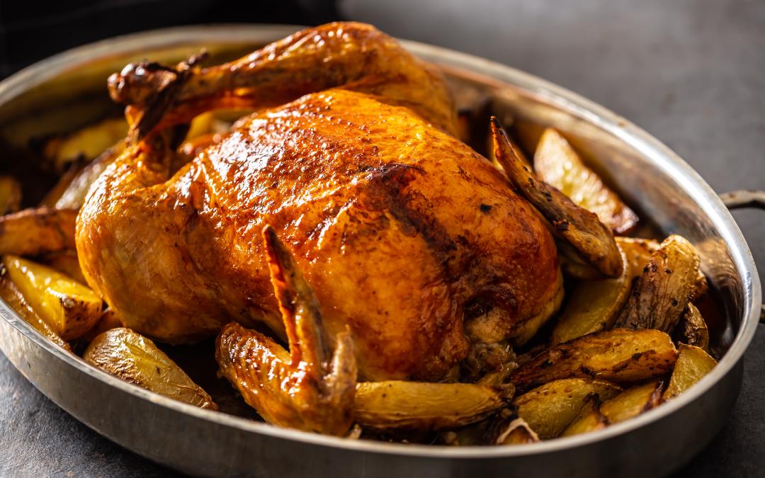 Ricetta pollo al forno con patate e vino bianco